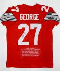 Eddie George Autographed Red College Style Stat Jersey With HT- JSA W Auth
