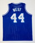 Jerry West Autographed Blue Basketball Style Jersey- JSA Witnessed Authenticated