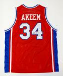 Akeem Olajuwon Autographed Red College Style Jersey- JSA Witnessed Authenticated