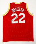 Clyde Drexler Autographed Red Jersey- JSA Witnessed Authenticated