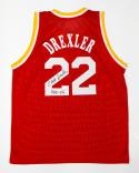 Clyde Drexler Autographed Red Jersey With HOF- JSA Witnessed Authenticated