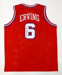 Julius Erving Autographed Red Jersey- JSA Witnessed Authenticated