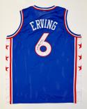Julius Erving Autographed Blue Jersey- JSA Witnessed Authenticated