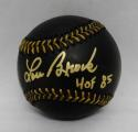 Lou Brock Autographed Rawlings OML Black Baseball With HOF- JSA Witnessed Auth