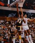 Magic Johnson Julius Erving Signed 16x20 Vertical Jumping Photo- PSA/DNA Auth