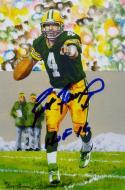 Brett Favre Autographed Green Bay Packers Goal Line Art Card W/ HOF- JSA W Auth