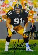 Kevin Greene Signed Pittsburgh Steelers Goal Line Art Card With HOF- JSA W Auth