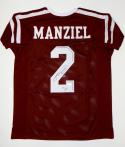 Johnny Manziel Autographed Maroon College Style Jersey W/ HT- JSA Witnessed Auth