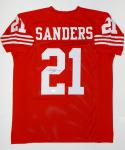 Deion Sanders Autographed Red Pro Style Jersey- JSA Witnessed Auth