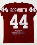 Brian Bosworth Autographed Maroon College Style Stat Jersey- JSA Witnessed Auth