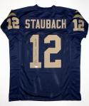 Roger Staubach Autographed Navy Blue College Style Jersey W/ Heisman- JSA W Auth