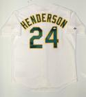 Rickey Henderson Autographed White Oakland Athletics Jersey- JSA Witnessed Auth