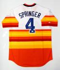 George Springer Signed Houston Astros Rainbow Jersey With Inscription- JSA Auth