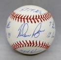 Nolan Ryan Autographed Rawlings OML Baseball W/ 6 Statistics- JSA Authenticated