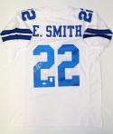 Emmitt Smith Autographed White Pro Style Jersey- JSA Witnessed Authenticated