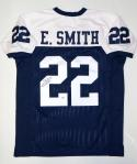 Emmitt Smith Autographed Blue with White Pro Style Jersey- JSA Witnessed Auth