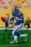 Cris Carter Autographed Minnesota Vikings Goal Line Art Card- JSA Witnessed Auth