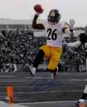 LeVeon Bell Autographed Steelers 16x20 B&W With Color PF.Photo- JSA W Auth