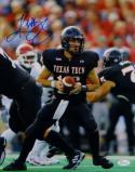 Kliff Kingsbury Autographed Texas Tech 11x14 Holding Football Photo- JSA W Auth