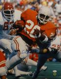 Earl Campbell Autographed *Blue 16x20 UT Running Against OU Photo- JSA W Auth