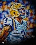 Odell Beckham Autographed LSU 16x20 Dark Up Close Yelling Photo- JSA Auth
