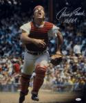 Johnny Bench Signed Cincinnati Reds 16x20 Running W/ Tongue Out Photo-JSA W Auth