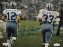 Roger Staubach Tony Dorsett Signed Cowboys 8x10 From Behind Photo- JSA W Auth