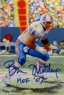 Bruce Matthews Autographed Houston Oilers Goal Line Art Card W/ HOF- JSA W Auth