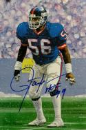 Lawrence Taylor Autographed New York Giants Goal Line Art Card W/ HOF-JSA W Auth