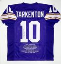 Fran Tarkenton Autographed Purple Pro Style Stat Jersey With HOF and JSA W Auth