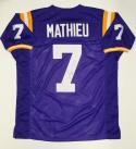 Tyrann Mathieu Autographed Purple College Style Jersey- PSA/DNA Authenticated