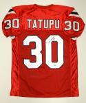 Mosi Tatupu Autographed Red Pro Style Jersey- JSA Authenticated