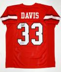 Terrell Davis Autographed Red College Style Jersey With Go Dawgs- JSA W Auth