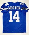 Craig Morton Autographed Blue Pro Style Jersey- The Jersey Source Authenticated