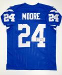 Lenny Moore Autographed Blue Pro Style Jersey With HOF- JSA Witnessed Auth
