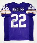 Paul Krause Autographed Purple Pro Style Jersey With HOF- The Jersey Source Auth