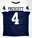 Dak Prescott Autographed Blue with White Pro Style Jersey- JSA Witnessed Auth