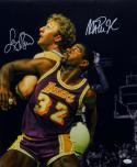 Larry Bird Magic Johnson Autographed 16x20 Up Close Matte Photo- JSA Auth