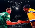 Larry Bird Magic Johnson Autographed 16x20 Shaking Hands Matte Photo- JSA Auth