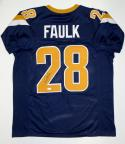 Marshall Faulk Autographed Dark Blue Pro Style Jersey- JSA Witnessed Auth