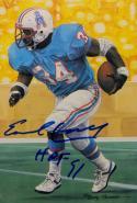 Earl Campbell Autographed Houston Oilers Goal Line Art Card W/ HOF- JSA W Auth