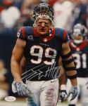 JJ Watt Autographed Houston Texans 8x10 Vertical Bloody Face Photo- JSA W Auth
