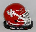 Demarcus Ayers Autographed UH Cougars Schutt Mini Helmet W/ Go Coogs- JSA W Auth