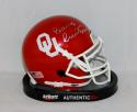Barry Switzer Autographed OU Sooners Schutt Mini Helmet- JSA W Authenticated