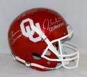 White Owens Sims *Center Signed OU Sooners F/S Schutt Helmet W/ Heisman- JSA W Auth