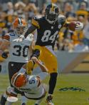 Antonio Brown Autographed Steelers 8x10 Running Over Browns Photo- JSA W Auth