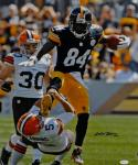 Antonio Brown Autographed Steelers 16x20 Running Over Browns Photo- JSA W Auth