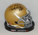 Rudy Ruettiger Signed Notre Dame Schutt Mini Helmet W/ Never Quit- JSA W Auth