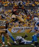 LeVeon Bell Autographed Pittsburgh Steelers 16x20 Jump Over Photo- JSA W Auth