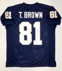 Tim Brown Autographed Navy Blue College Style Jersey W/ Heisman- JSA W Auth